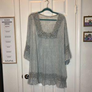 Tops - Woman's plus size top shirt blouse gray 2x XXL E4